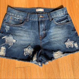 Altar'd State distressed star denim jean shorts 22
